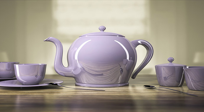 purple tea kettle